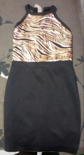 hermoso vestido de lentejuela negro con dorado