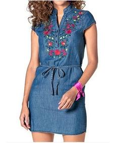 adecuado para hombres/mujeres Boutique en ligne outlet(mk) Hermoso Vestido De Mezclilla, Bordado, Talla Ch, M, G Y Xg