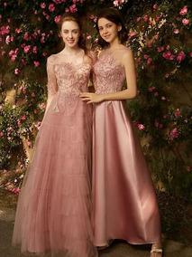 Hermoso Vestido De Noche Color Palo De Rosa Talla Extras