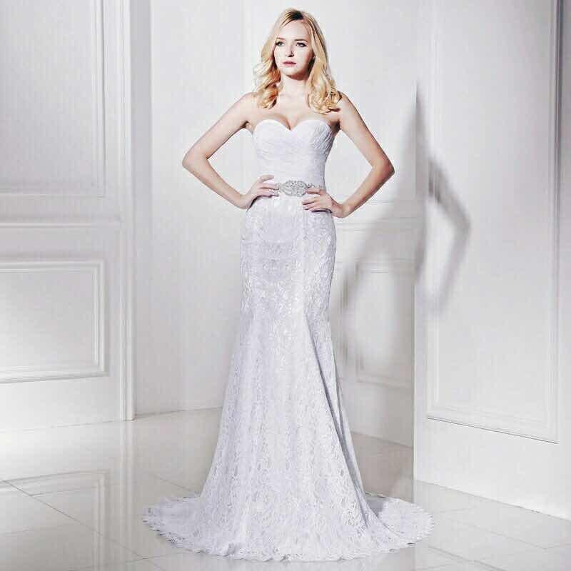 hermoso vestido de novia boda corte sirena encajes imp - $ 4,200.00