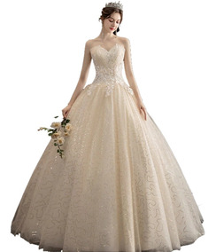 Hermoso Vestido De Novia Elegante Color Beige Champagne