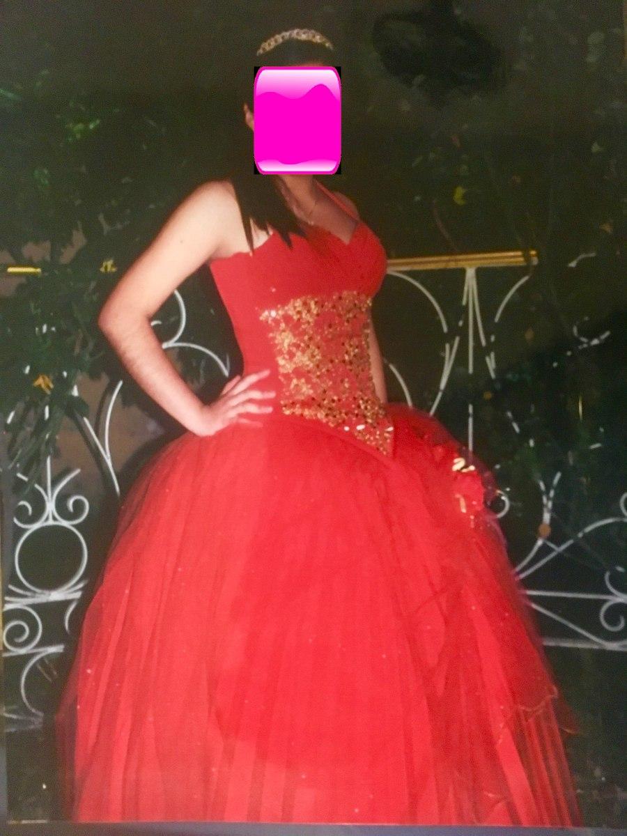 Hermoso vestido de xv a os 15 quince a os rojo con dorado for Ornamentacion de 15 anos