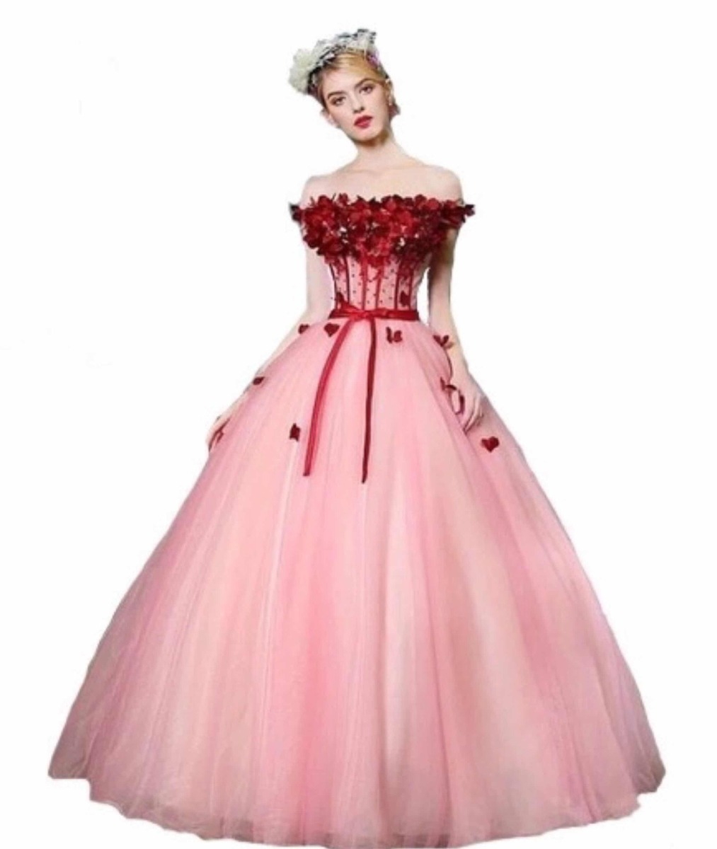 hermoso vestido de xv a os 15 rosa vino flores 3d vintage. Black Bedroom Furniture Sets. Home Design Ideas