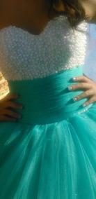 Vestido Xv Azul Turquesa Excelente Estado 200000
