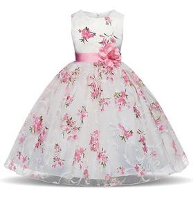 Hermoso Vestido Elegante Bebe Niña Fiestaflores Princesa