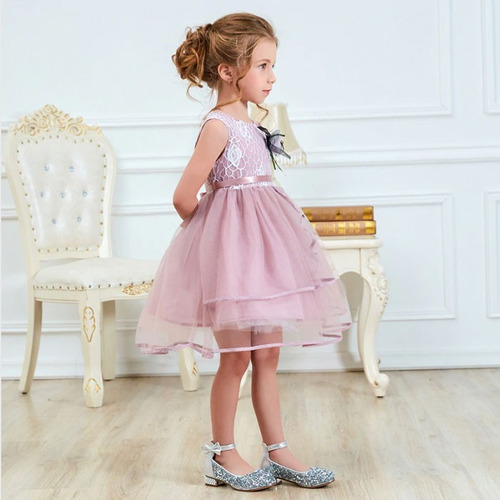 hermoso vestido elegante de niña fiesta #1 flor bordado
