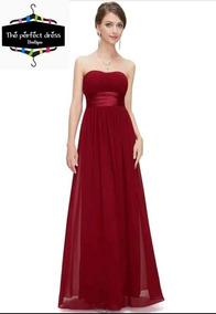 Hermoso Vestido Estraple Largo Elegante Boda Fiesta Graduaci