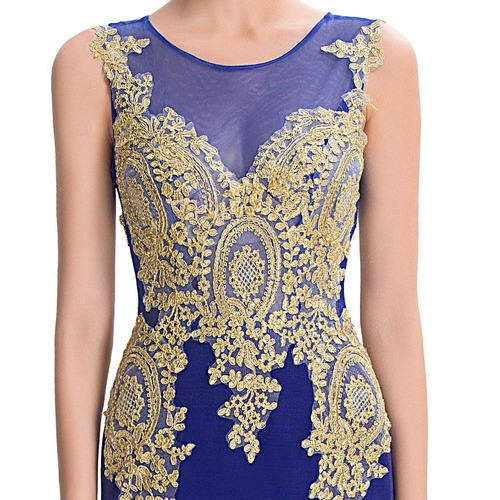 hermoso vestido fiesta azul dorado sirena envío gratis