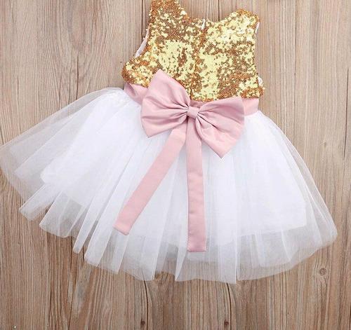 hermoso vestido fiesta para niña dorado lentelueja tutu