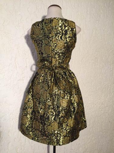 hermoso vestido fino de coctel el brocado dorado