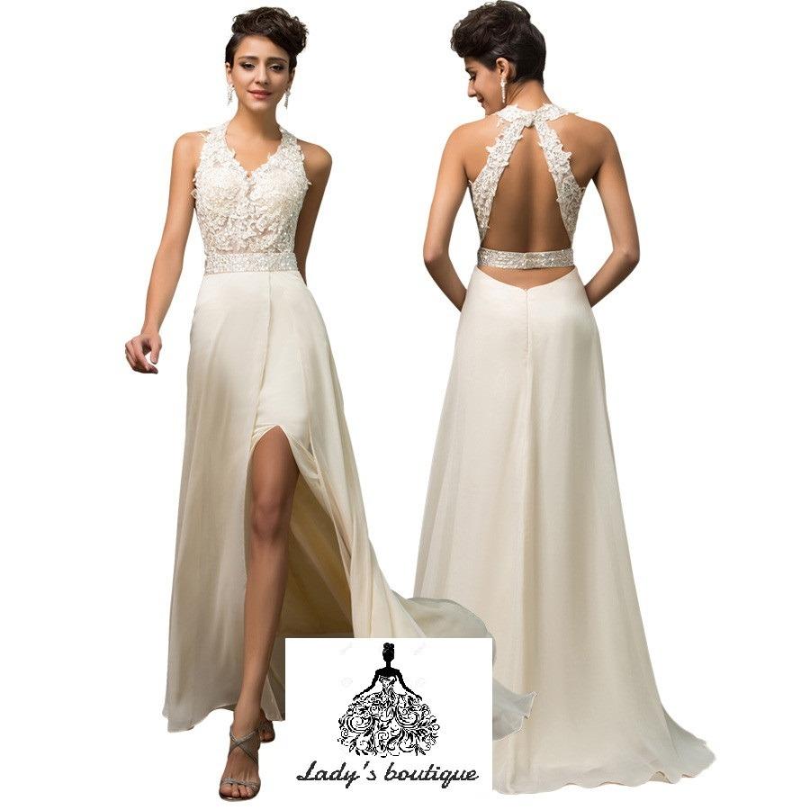 68eb79176 hermoso vestido largo boda aplicación guipur sequin. Cargando zoom.