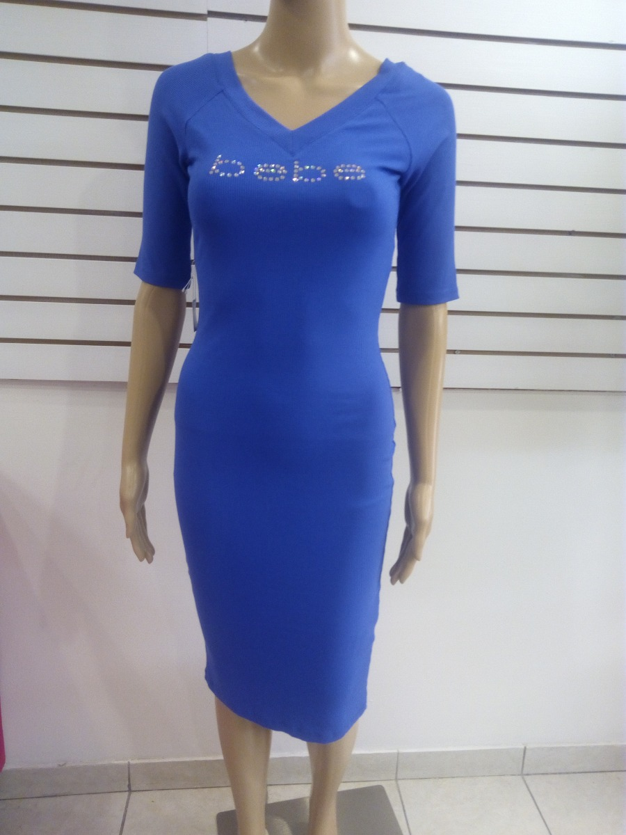 Hermoso Vestido Marca Bebe Color Azul Escote En Espalda