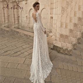 0776ecccc Hermoso Vestido Novia Elegante Encaje Largo Escote Espalda