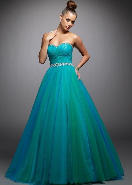 Vestidos azul aqua