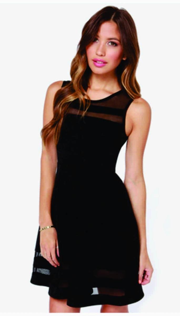 Vestido negro corto transparencias