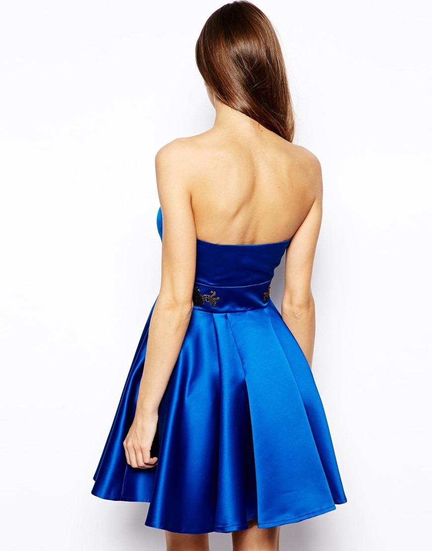 c5114bb83 hermoso vestido strapless azul rey lashes of london t40 eu. Cargando zoom.