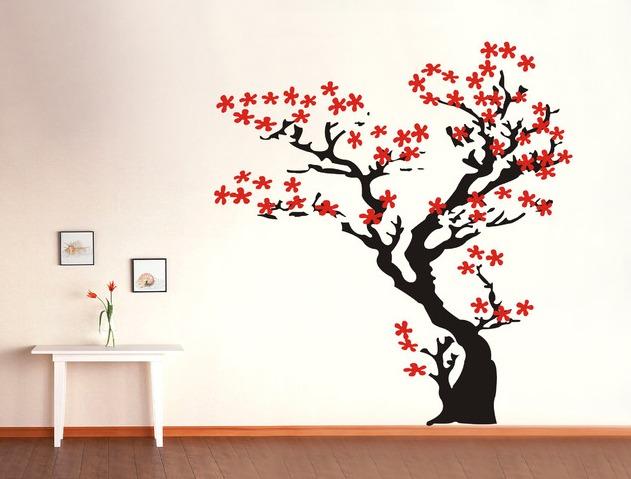 Hermoso vinilo decorativo rbol cerezos 1 en - Vinilos decorativos para paredes exteriores ...