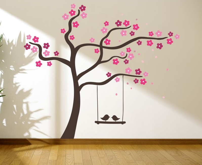 Hermoso vinilo decorativo rbol columpio p jaros infantil for Vinilos para murallas