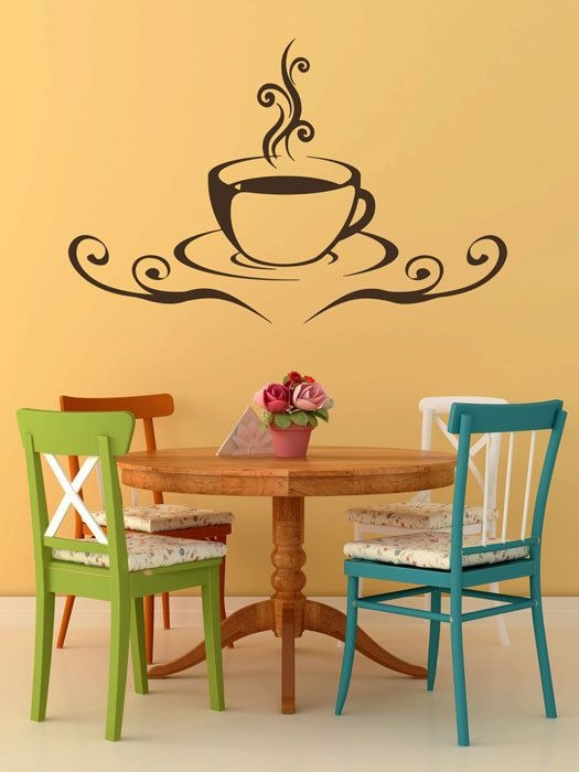 Hermoso vinilos decorativo para cocina taza caf 599 - Vinilo para cocina ...