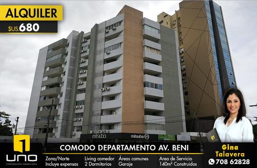 hermoso y amplio departamento en alquiler z/ norte av. beni