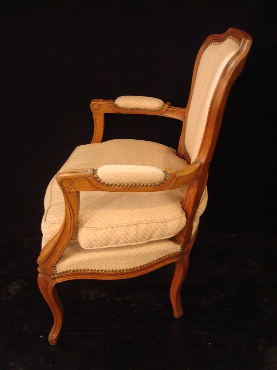 hermoso y antiguo sillon luis xv tapizado original y funda