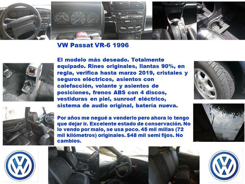 hermoso y conservado volkswagen passat 2.8 piel vr6 at
