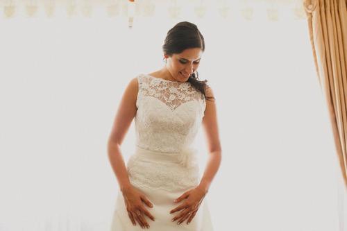 hermoso y elegante vestido de novia 2 piezas.