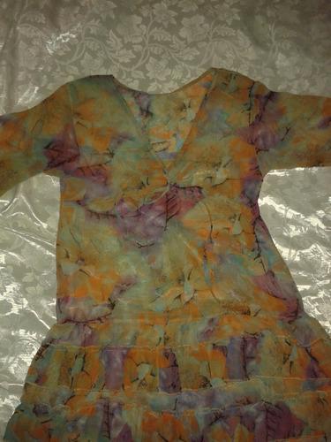 hermoso y fino vestido bluzon playero de chifon dama talla l