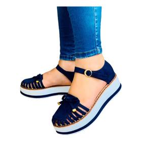Hermoso Zapato Plano Color Azul Para Dama Lindo Diseño