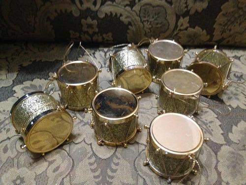 hermosos adornos tamborcitos dorados de navidad