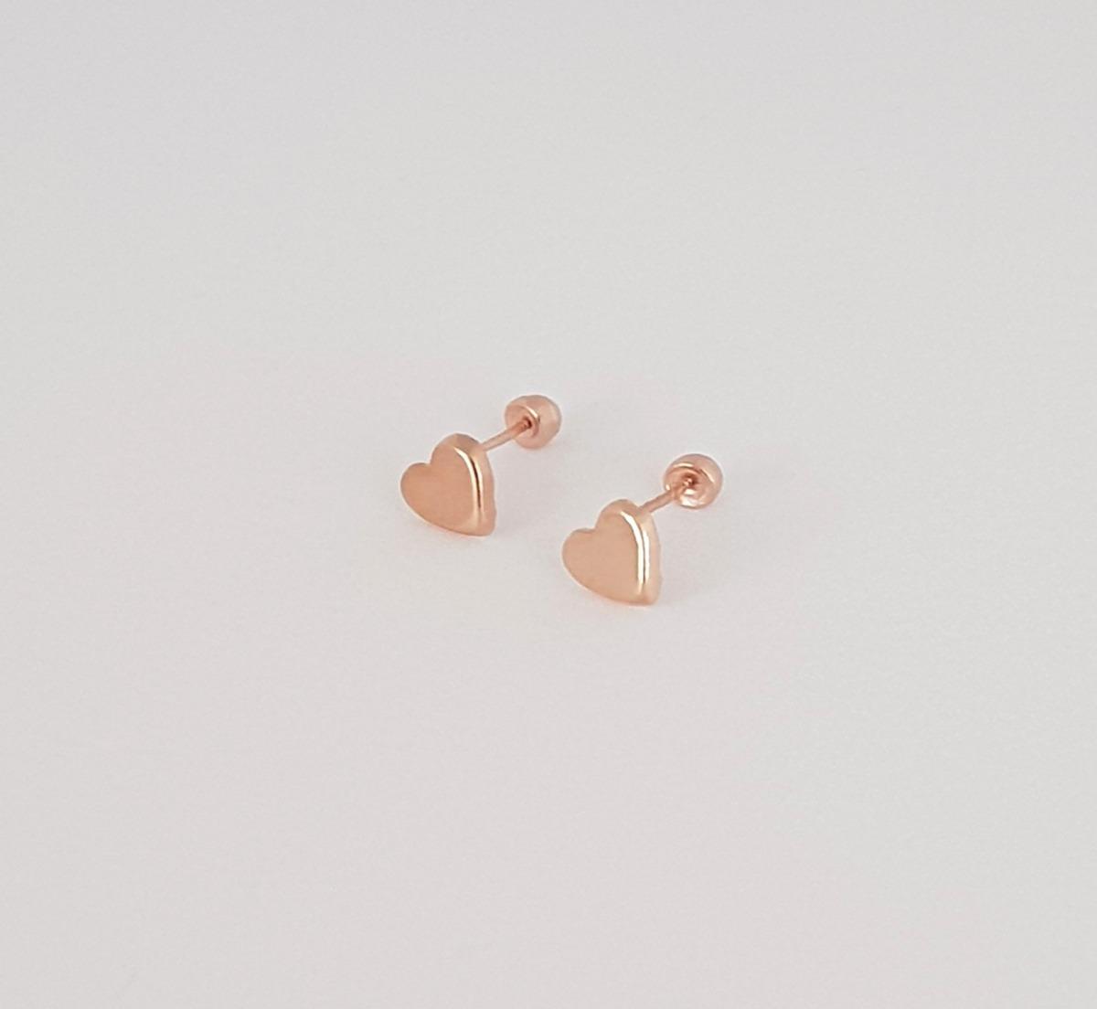 bad6c1dda523 hermosos aretes broquel bebe niña de corazón oro rosa de 10k. Cargando zoom.