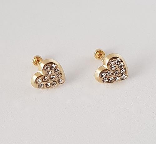 hermosos aretes broquel dama corazón zirconias oro 10k