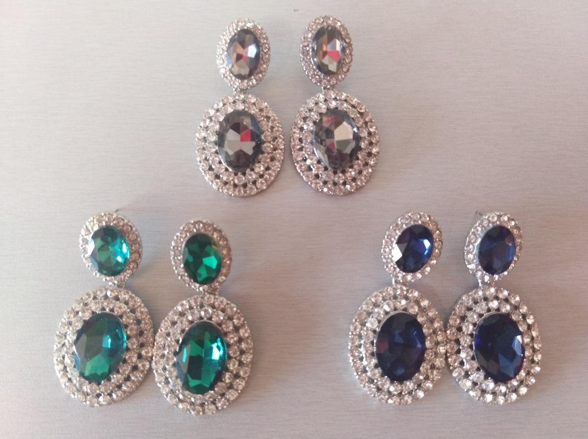 bf3219f737eb Hermosos Aretes Elegantes Azul Marino Verde Antimonio Envio ...
