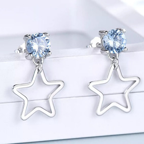 c7ccb77ffc87 Hermosos Aretes Estrella Con .5 Qts Topacio Plata 925 Mujer!