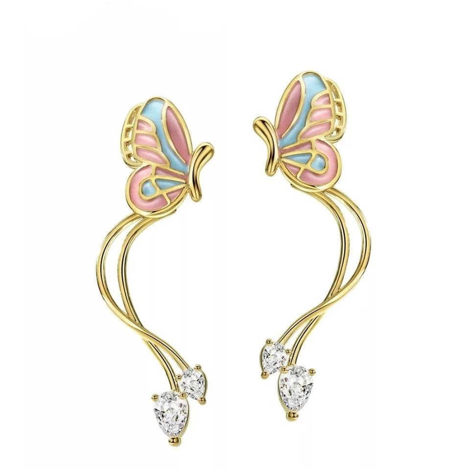 59fe9c65046b hermosos aretes mariposa oro 14k lam con cristales swarovski. Cargando zoom.