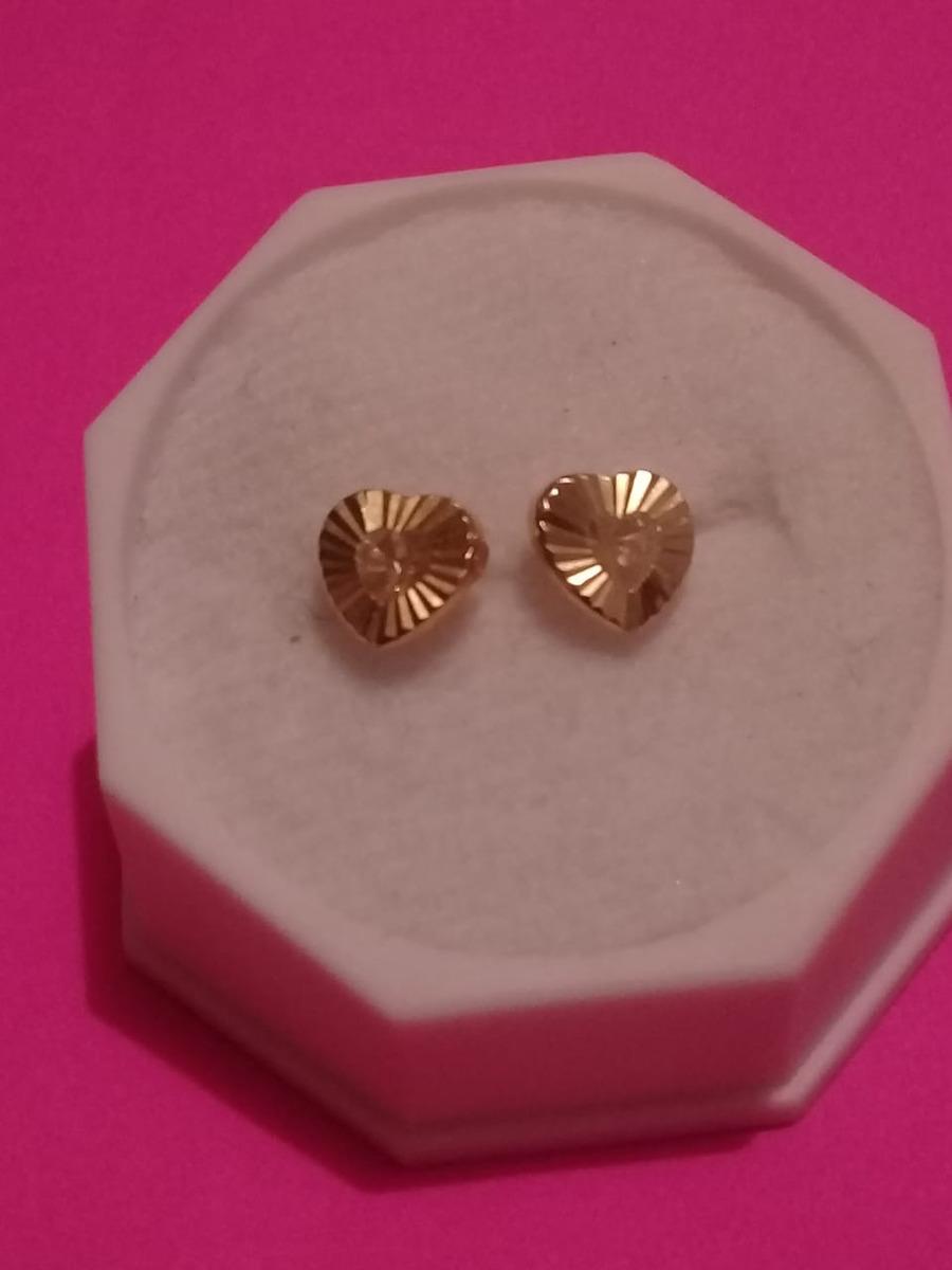 4a134d230cee Hermosos Aretes Oro 14k Corazon Diamantado -   690.00 en Mercado Libre