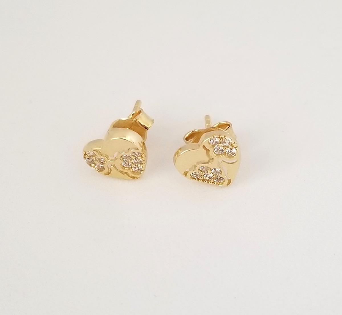 bd19aa529d7c hermosos aretes para dama oro 14k corazón piedras. Cargando zoom.