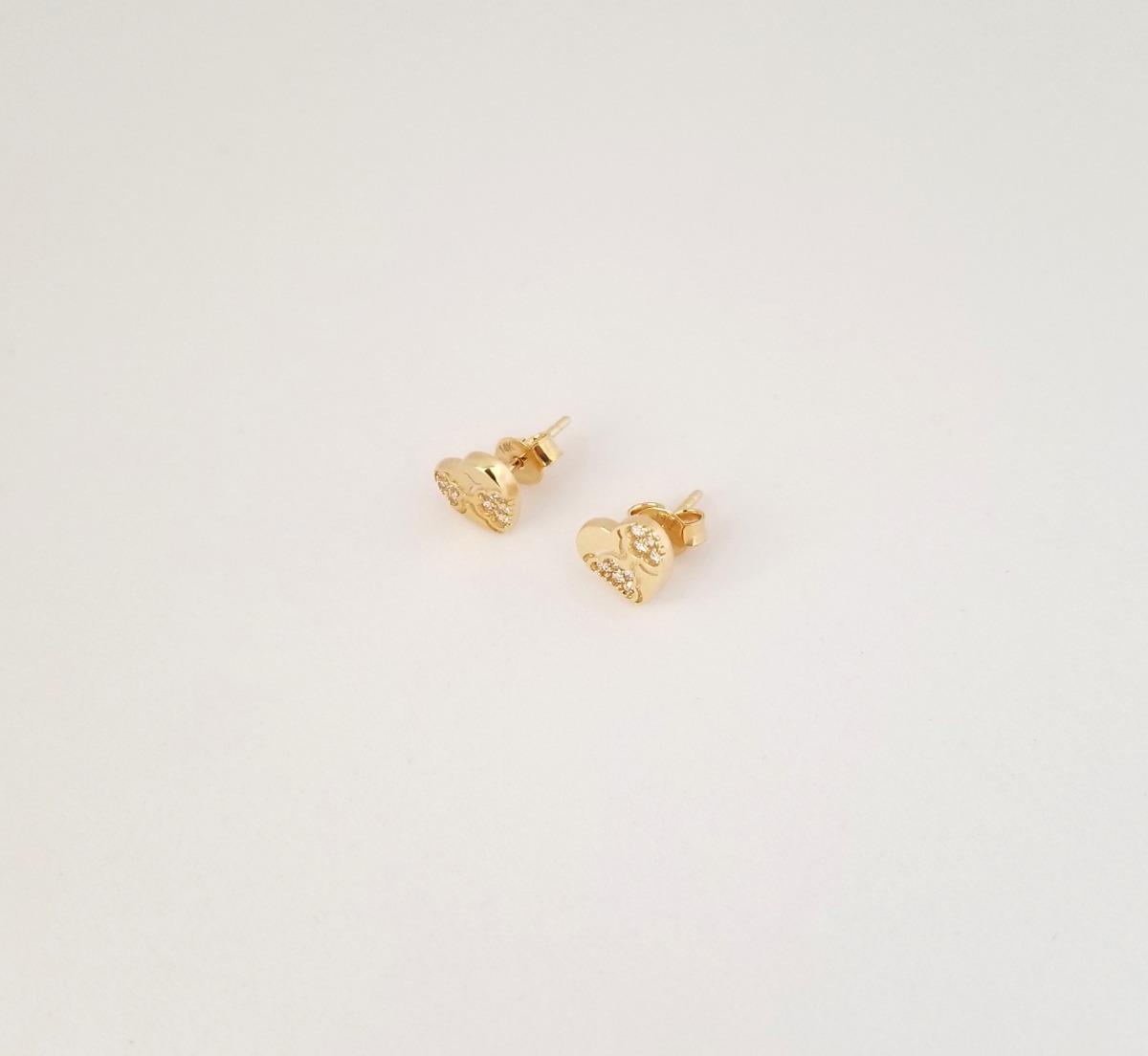 fbdf0a50844d hermosos aretes para dama oro 14k corazón piedras. Cargando zoom.
