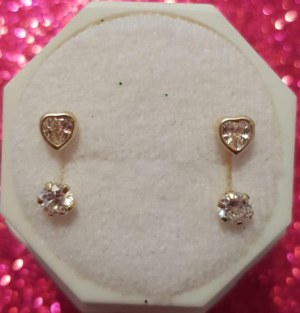 ac9254f2f22f hermosos aretes telefono piedra circonias blancas oro 14k. Cargando zoom.
