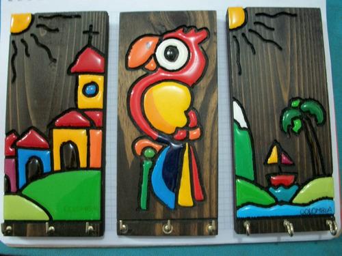 hermosos portallaves en madera.