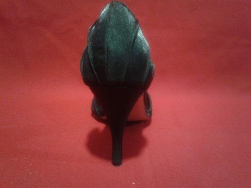 hermosos zapatos ansonia negros de raso y strass 37