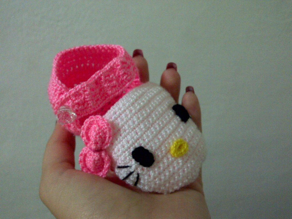 Hermosos zapatos de hello kitty tejidos para bebe bs 2 - Hello kitty bebe ...