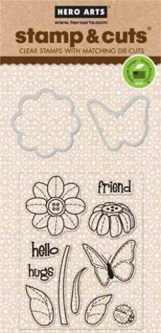 hero arts butterfly and flower - clear stamps with matching