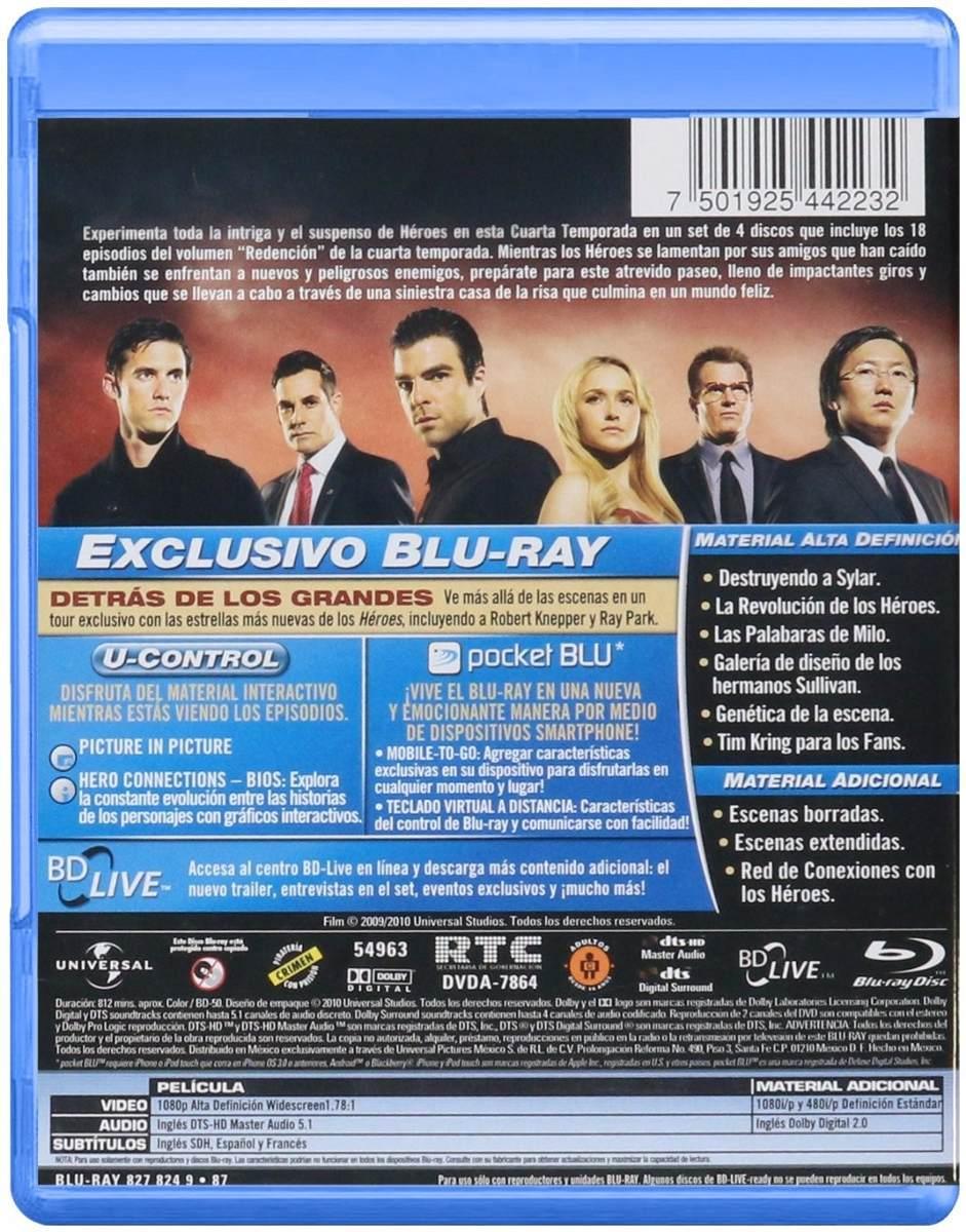 Heroes Cuarta Temporada 4 Cuatro Blu-ray - $ 399.00 en Mercado Libre