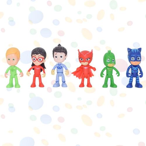héroes en pijamas articulados 6 personajes figuras pj masks