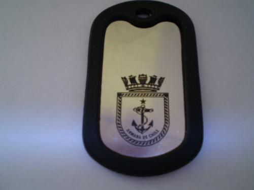 herrete,placa militar grabada  con logo fuerzas armadas cl.
