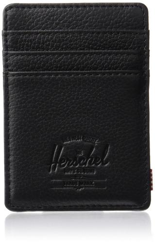 herschel supply co. raven leather rfid, rfid black pebbled l