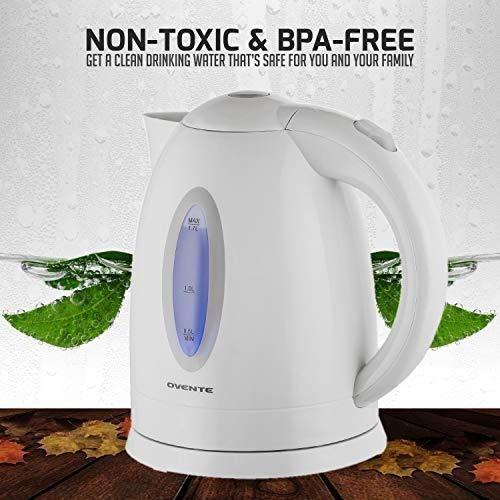 hervidor agua electrico inalambrico tetera 35.2 oz liq, blan