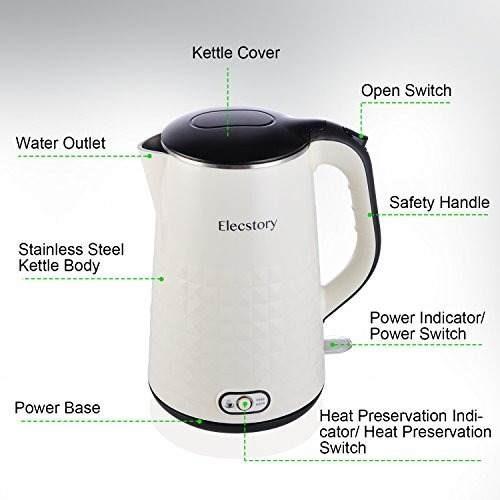 hervidor de agua eléctrico elecstory 1200w 1.7 litros beige