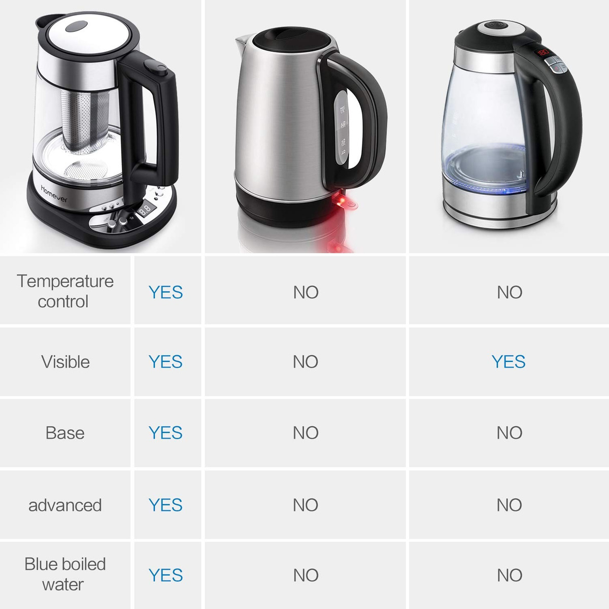 Electric Water Kettle Thermostatic Kettle with Adjustable Temperature Electric Cordless Glass Kettle with Strainer 1.7L 2200W Auto Shut-Off and Boil-Dry Protection Tea Kettle Homever Kettle